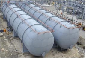 1500 M3液丙烯槽製作 主要材質:SPV-490Q 尺寸: 7.3M∮*40M長*厚度52mmT